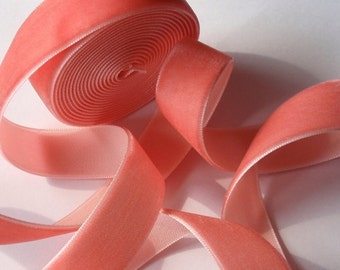 5 yards 3/4 inches Velvet Ribbon in Coral RY34-15
