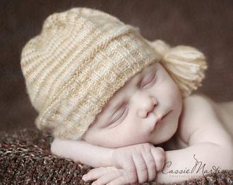 SALE: Newborn hat Photo prop white cream brown knit baby hat hand knit newborn photography prop colorful