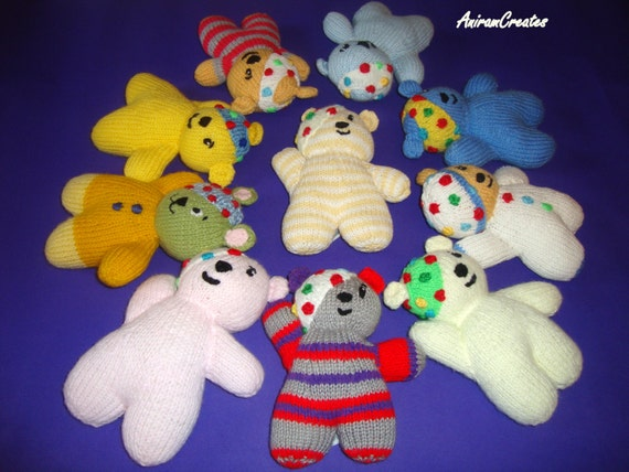 Pudsey Bear Knitting Pattern : Hand Knitted Pudsey Bear soft toy with fashionable headband