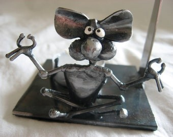 Incense Oil Burner Meditating Mouse Sculpture made from Recycled Steel