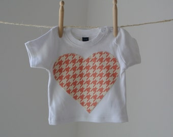 Baby Girls Pink Houndstooth Heart T-Shirt Appliqué Top FREE UK SHIPPING