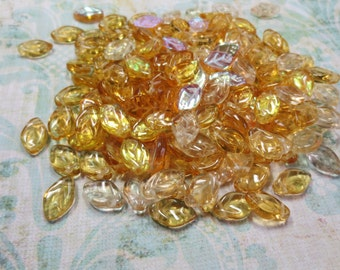 Czech Glass Leaves, Sunflower Topaz  Mix, 24 Beads - Item 120