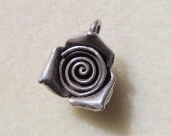 Hill Tribe Silver 15mm Rose Pendant - Item 278