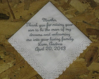 Wedding Handkerchief personalized for future Mother In Law Hankie gift for Mother of Groom