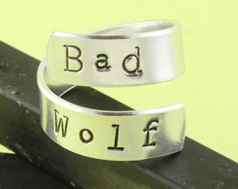 Bad Wolf Ring - Adjustable Ring - Twist Ring - Silver Ring - Wrap Ring - Dr Who Ring - Gift For Geek - Gift For Nerd - Geek Ring