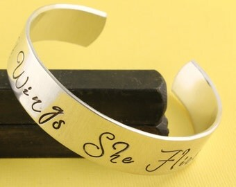 SALE - With Wings She Flies Hand Stamped Cuff Bracelet - Handstamped Gift - Mother's Day Gift - Gift for Her - Graduation Gift