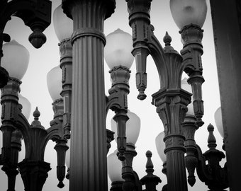 Los Angeles Photography - Lampposts - LACMA Museum - Los Angeles, CA - 8x10 Fine Art Photograph - Wall Art