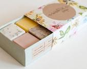 SAMPLE SET - 4 mini soaps - Mint Poppy, Patchouli Rose, Chai Vanilla, Cherry Blossom - Handmade soap,Vegan soap, Natural, Gift Set