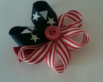 Patriotic Ribbon Sculpture Hair Clip