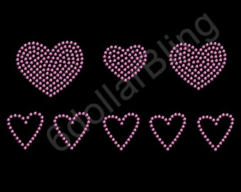 """Rhinestone Iron On Transfer """"Heart Collection (Pink)"""" Love Bling"""