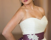 Bright Wedding Crystal Beaded Satin Sash, Bridal Belt, Rhinestone Beaded Sash - Yvette Belt