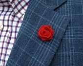 Mens Felt Lapel Flower in Red // Mens Boutonniere // Wedding Lapel Pin // Wool Felt Lapel Pin