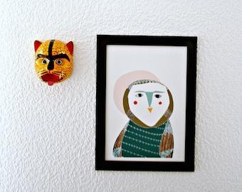 "Print ""Chouette"". Owl Print. Owl Wall Art"