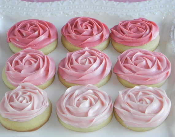 Sugar Cookies with Ombre Pink Rosette Frosting by SweetOnHearts
