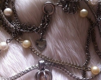 3 Strand Pearl and Chain Heart Necklace