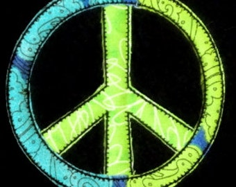 Peace Sign Applique Machine Embroidery Raggy Frayed Applique Design