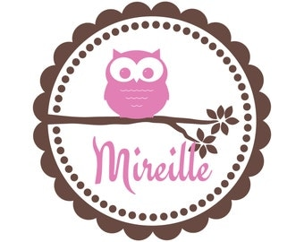Owl Wall Decal - Personalized Vinyl Owl with Branch And Name Wall Decal For Baby Girl Or Boy Nursery Room Wall Art 22H x 22W GN047