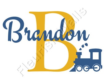 Personalized Train Wall Decal - Locomotive Wall Decal Initial & Name for Baby Boy Nursery Toddler Room Vinyl Wall Art BN010