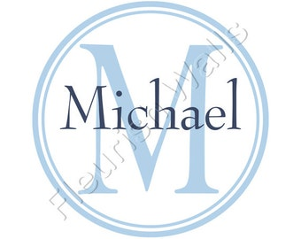 Baby Nursery Decal Personalized With Name And Initial Monogram And Circle Border For Baby Boy Or Girl Nursery Room 22H x 22W BN026