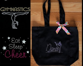 Rhinestone Dance - Cheer - Gymnastics Canvas Tote-YOU CHOOSE - Personalization Available