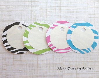 Zebra Gift Tags, Personalized Gift Tags, Zebra Favor Tags, Zebra Baby Shower Favor Tags, Pink Black Blue Green, Set of 12