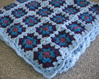 Baby Boy Afgan Granny Square Light and Dark Blue Square Blanket 38''. Ready to Ship. Sale 20%