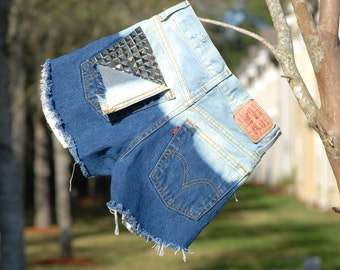 Levis Bleached Destoryed and Studded High waisted shorts