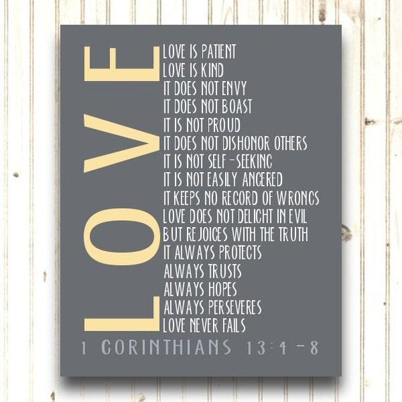 Typography Print 1 Corinthians 13 4 8 By PrintsbyChristine