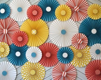 Set of 24 (TWENTY FOUR) Vintage Circus Inspired Paper Rosettes
