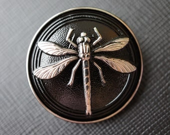 Czech Glass Button Dragonfly 31mm Size:14 Black-Silver 1 pc (BUT165/14)