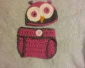 Crochet Baby owl hat and diaper cover set
