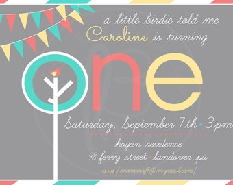 First birthday invitation, Tree and birdie w/ pennants 5x7: Printable and Customizable (front design only)