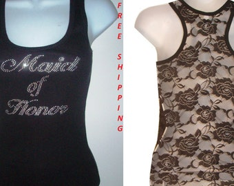 Rhinestone Maid of Honor Wedding Lace Back TANKTOPS Shirt Blacks Size:S, To XL  bridal party Free Shipping