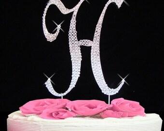 Large Rhinestone Crystal Monogram Letter H Wedding Cake Topper 5 Inches High