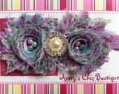Baby girl headband, newborn headband, toddler headband, lavender, blue and pink floral pattern, spring headband