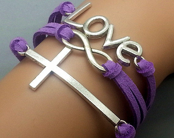 Cross -Infinity - Love Charm Bracelet-Antique Silver- Purple Leather Ropes --Friendship Gift-Adjustable Weave Bangle Personalized Bracelet