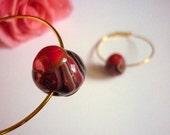 Golden Medium Hoop earrings - Polymer clay earrings- Beaded earrings - Unique - One of a kind