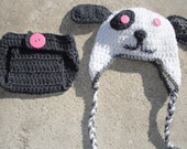 Crochet Gift Set Puppy Hat and Diaper Cover Grey White and Pink  for Infants 0 to 6 Months - sewcroco