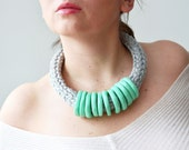 Mint Green Statement  Necklace in Polymer clay and T-shirt Yarn - IKKX