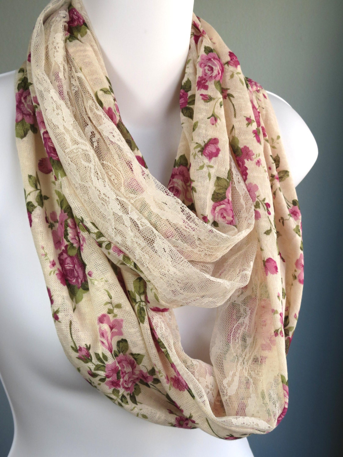 infinity lace scarf flower print accessories fancy scarf