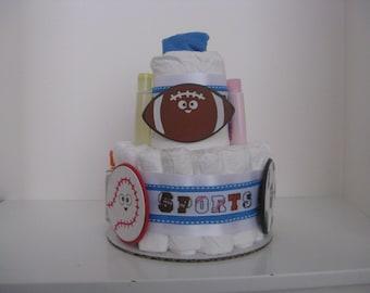 """Sports """"Mini"""" Diaper Cake"""