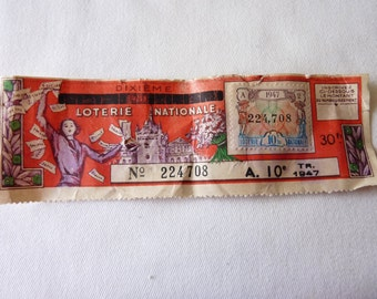 French National Lottery Tickets - One Tenth - Dated 1947