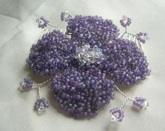 Bridal Hair Comb  - Large Flower - Handmade with Swarovski Crystal & Toho Seed Beads