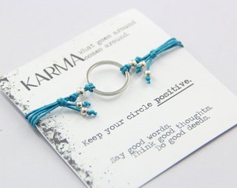 Satori Karma Bracelet in Aqua Blue Cord and Silver Metal Accents, Yoga Bracelet