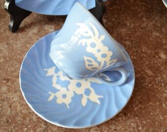 Harker Pottery Company Cameoware Blue Shell Shape Tea Cup