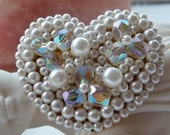 Vintage Pearl & Crystal Beaded Heart Brooch Valentine's Day Fun Signed Japan