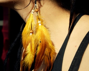 Yellow feather earring