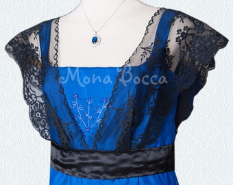 Edwardian Dress handmade in England royal blue Titanic Downton Abbey vintage styled with black lace and Swarovski crystals