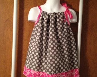 Pink & Grey polkadot pillowcase dress 18m-2T