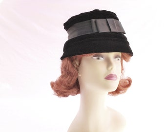 Vintage Black Velvet Cloche Hat